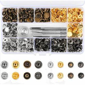 Vanble レザークラフト 工具 4種類 & ホック 4色 詰め合わせ ケース付 カシメセット 12mm ホック打ち