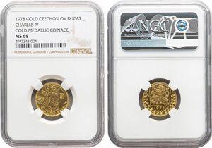 チェコスロバキア 1ダカット金貨 1978年 完全未使用品 カール4世死後600年 NGC(MS68)