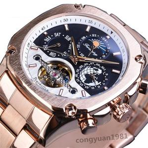 贅沢★メンズ高級腕時計 機械式 自動巻 カレンダー 曜日表示 トゥールビヨン サンアンドムーン 紳士ウォッチ 夜光 防水 ローズ