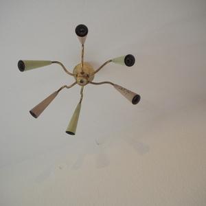 フランス 1950s モダン ヴィンテージ 6灯スプートニクsputnik ミッドセンチュリー ランプ 照明 ライト アトリエ シャンデリア 店舗什器