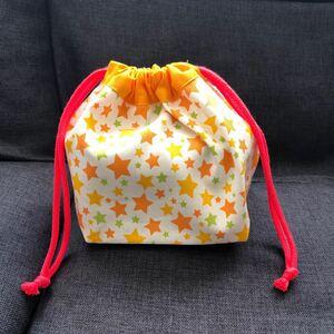 大きめお弁当袋オレンジ星★るなハンドメイド★巾着袋 女の子用 幼稚園保育所 園児用 ランチバッグ