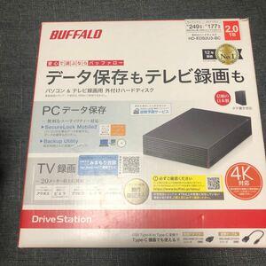 BUFFALO 外付けHDD 外付けハードディスク ブラック テレビ録画用外付けHDD 4k
