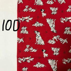 綿生地 シーチング 赤×101匹のわんちゃん
