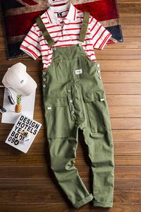 メンズ オーバーオール つなぎ カーゴパンツ 作業服 オールインワン サロペット ワークウェア 大きいサイズ 7色選択 グリーン M