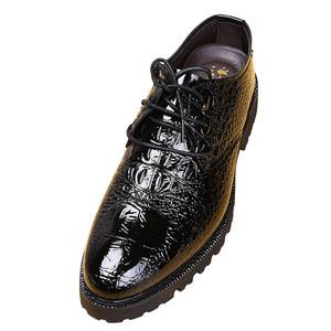 メンズ ビジネスシューズ ドレスシューズ フォーマル レザーシューズ ワニ柄 革靴 ローファースリッポン 紳士靴 黒 25cm