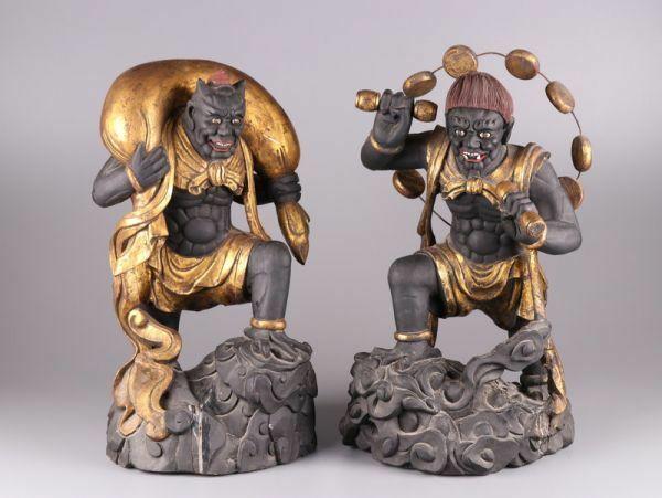 仏教美術 古美術 時代彩色木彫 風神雷神 置物 細密細工 時代物 極上品 初だし品 a9843