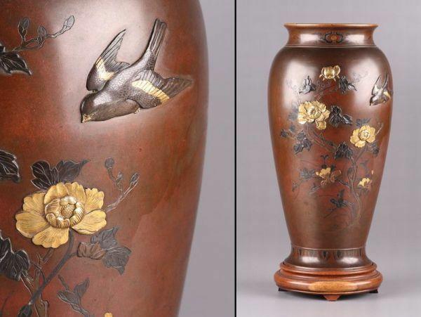 古美術 金工美術 明治金工 古銅造 金銀象嵌細工 花瓶 細密細工 時代物 極上品 初だし品 a9841