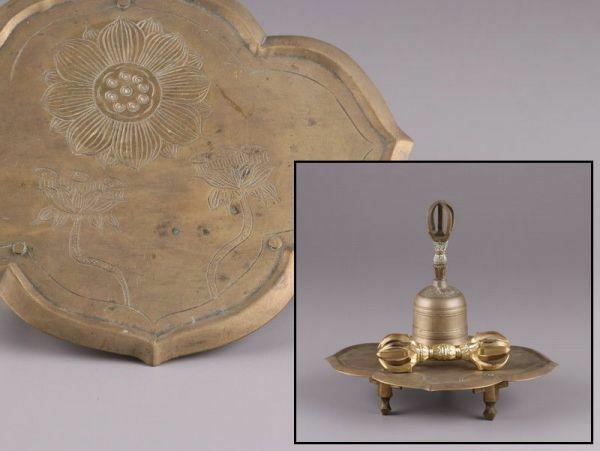 仏教美術 銅製 密教法具 一式 金剛盤 金剛杵 金剛鈴 時代物 極上品 初だし品 a9824