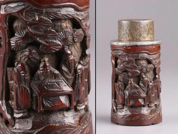 中国古玩 唐物 煎茶道具 古竹造 錫口 茶心壷 茶入 時代物 極上品 初だし品 a9945