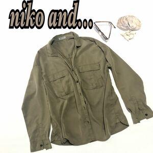 niko and…ニコアンドカーキ 胸ポッケ やや光沢あり ワイルド かっこかわいい 薄手秋のシャツ