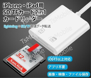 iPhone用TF/SDカードリーダー2in1 MicroSD/SDカードリーダー iPad Lightningライトニング専用