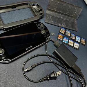 PS Vita PCH-1000(Wi-Fiモデル) ブラック SONY メモリーカード16GB +ソフト9本