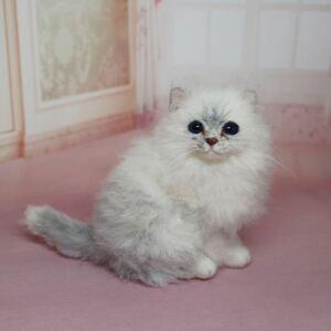 ☆yura felt☆ 羊毛フェルト 猫 チンチラシルバーの子猫 ハンドメイド 置物 インテリア