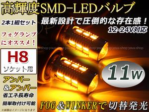 ティーダ C11 前期 11W 霧灯 アンバー アンバー LEDバルブ フォグランプ ウイフォグ ウインカー ターン マルチ H8