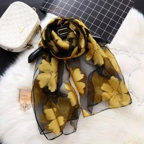 ストール レディース イエロー 黒 花柄 大判 プレゼント スカーフ ショール1