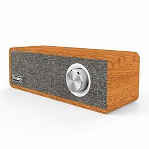 グレー 木製 Bluetooth スピーカー ワイヤレススピーカ[ ポータブル Smalody 高音質 大音量 重低音 ブルート