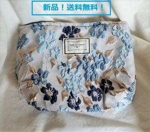【新品・全国送料無料!】ポーチ 化粧 コスメ メイク かわいい 花柄 レディース ブルー
