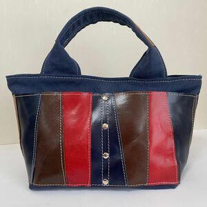 帆布と本革のミニトートバッグ ハンドメイド