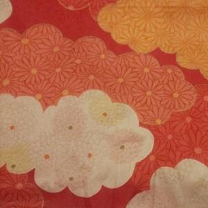 花 菊 雲柄 生地 ハンドメイド 着物素材 生地巾約70cm×200cm