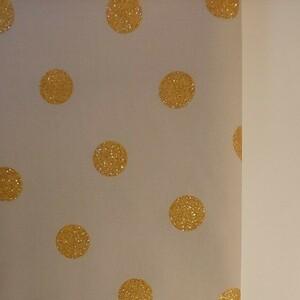 ルシアン LECIEN オックス生地 ゴールドラメグリッタードット柄 生地巾約108cm×50cm