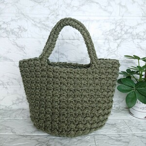 ハンドバッグ 毛糸 ハンドメイド 編み物 ランチバッグ トートバッグ かごバッグ 手編みバッグ マルシェ