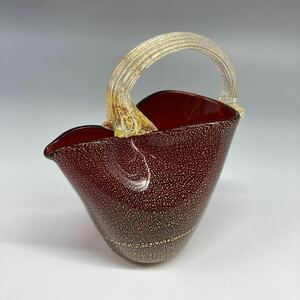 vase pitcher handle attaching red interior gold paint ornament