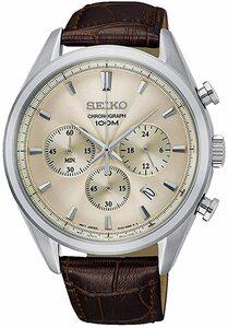 SEIKO セイコー SSB293P1 クロノグラフクォーツ レザー ブラウン メンズ 腕時計 シャンパンゴールド