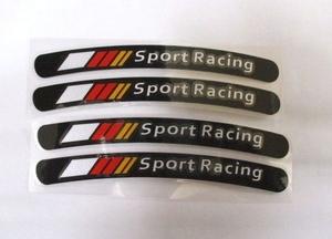 【新品・即決】黒 Sport Racing ホイール タイヤ ボディ リムステッカー 1.3cm × 13cm 4個セット メルセデス ベンツ