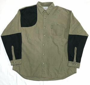 【90s】Columbia コロンビア ハンティングシャツ メンズ2XL カーキ グリーン 長袖 ビッグサイズ 撥水 アウトドア USモデル ヴィンテージ