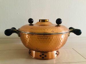 純銅のしゃぶしゃぶ鍋 中華鍋 両手鍋 昭和レトロ