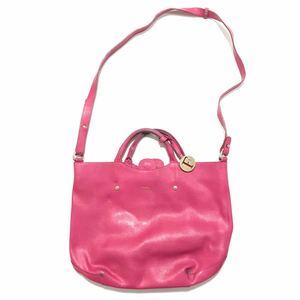 【フルラ】本物 FURLA ハンドバッグ ピンク色系 2way ショルダーバッグ トートバッグ Fチャーム 本革 レザー 女性用 レディース