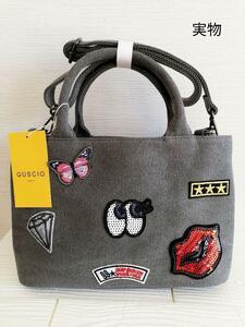 キャンバス  2WAYバッグ   ショルダーバッグ  トートバッグ miniボストンバッグ   カラー:ダークグレー