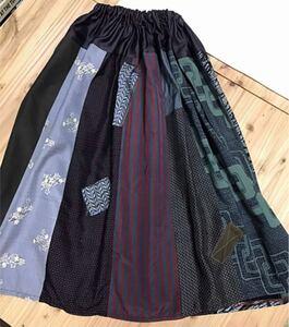 着物リメイク 古布 フレア スカート パッチワーク風 ハンドメイド 001