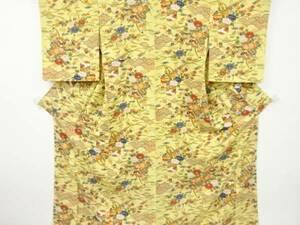 5328029: 貝桶に鼓・草花模様手織り節紬着物