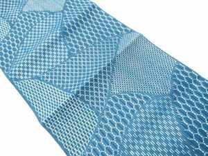 769651# 【1円~】経絽 切り嵌め風幾何学模様織り出し名古屋帯