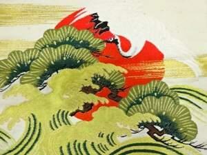 769681# 【1円~】アンティーク 夕日に松鶴・荒波模様織出し帛紗