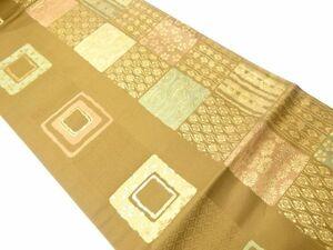 770919# 【1円~】新装織物製 格子に立涌・菊・梅模様織り出し名古屋帯