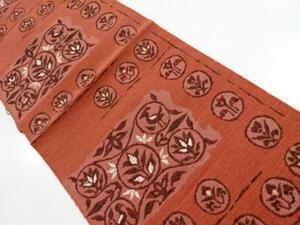 4734600: アンティーク 手織り紬横段に花鳥模様織出し名古屋帯(着用可)