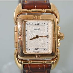 SAGA de Tabbah タバー サガ K18 イエローゴールド レディース腕時計 中古品 革バンド クォーツ式