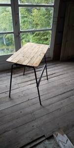 鉄脚と古材のテーブルアンティークアトリエ天然生活リネンアウトドア