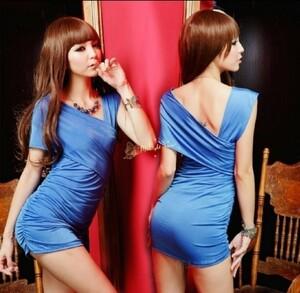 超セクシー ボディコン ミニスカワンピース キャバ嬢 ドレス ランジェリー マイクロミニ ショーツ ブルー