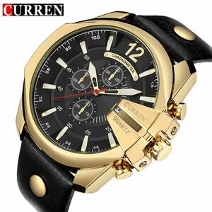 お買い得★1円~Curren メンズクォーツ時計 トップブランド 高級デザイナー腕時計 海外ブランド品