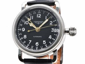 [3年保証] ロンジン メンズ ヘリテージア ビゲーション L2.778.4 新品仕上済 GMT 革ベルト 黒文字盤 自動巻き 腕時計 中古 送料無料