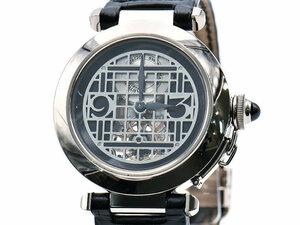 [3年保証] カルティエ メンズ パシャ トゥールビヨン K18WG 革ベルト 20本限定 スケルトン文字盤 自動巻き 腕時計 中古 送料無料