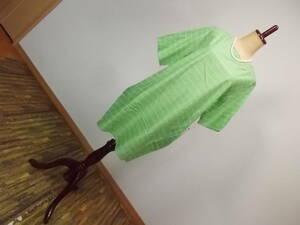 10新品 半袖ロング丈コットンカットソーチュニックワンピースグリーン緑白綿100%シャツブラウスプルオーバー M-L9号11号13号15号