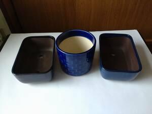 ☆ 植木鉢 陶器 盆栽 鉢カバー 青3個セット 丸型 長方形 中古品 ゆうパック80サイズ 6 ☆