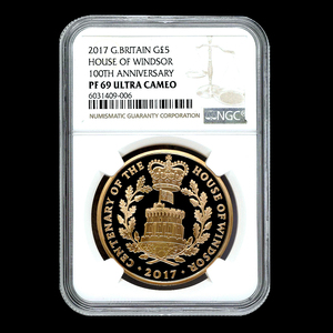 イギリス 2017年 ウィンザー朝 100周年 記念金貨 英国 5ポンド 金貨 NGC PF69 Ultra Cameo