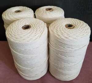 マクラメロープ 3mm × 200m 4個セット 天然コットン100% / ロープ 編み糸 壁飾り 装飾 吊り下げ 植物用 アクセサリー ハンドメイド