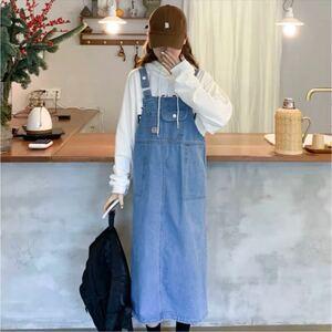 デニム サロペット 秋冬コーデ オーバーオール 韓国ファッション ブルー 通学
