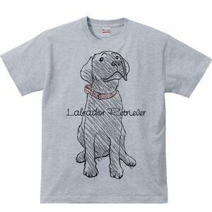 黒ラブラドールレトリバー(クレヨンタッチ)/半袖Tシャツ/メンズM/杢グレー(やや濃いめ)・新品・メール便 送料無料